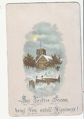 This Festive Season Bring You Untold Happiness Christmas Victorian Card c1880s
