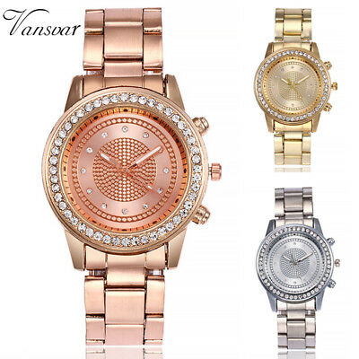Women Luxury Quartz Stainless Steel Diamond Crystal Dress Analog Wrist Watch Hot
