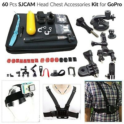 60 Pcs Accessories Kit for GoPro Hero 5 4 3 2 Camera Bundle Set Chest Head Strap