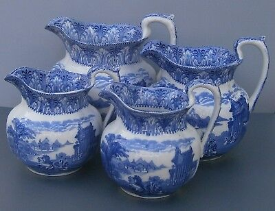 Antique 1930s Blue & White Cauldon Chariot Shaped Jugs in Three Sizes