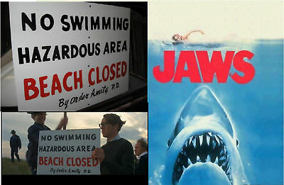 Jaws Amity Island Police Movie Prop No Swimming Sign Beach Closed Shark Decal