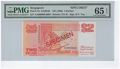 PMG 65 EPQ $2 AA000000 Singapore Ship ( Orange) Specimen Note (0669) folder P27s