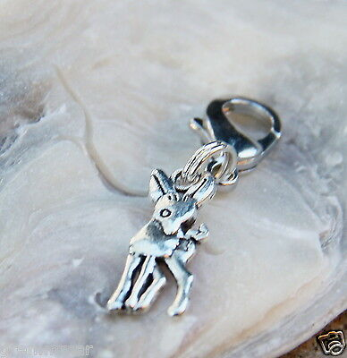 Sweet Cute Bambi deer silver tone Clip On Charm Zipper Pull Handmade New