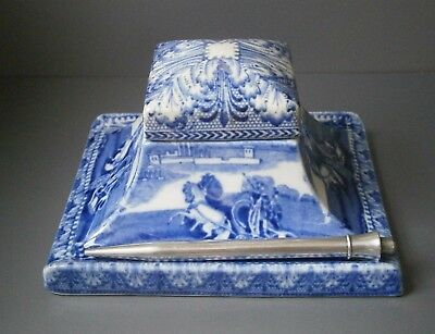 Rare Cauldon Blue and White Chariot Pattern Desk Stand Inkwell