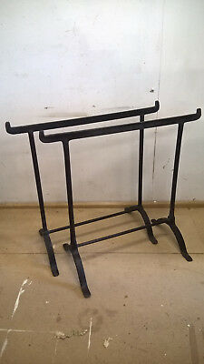 Two antique wrought iron trestles