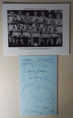 1960 Fa Cup Final Blackburn Rovers Signed Hotel Letterhead Hendon Hall Hotel