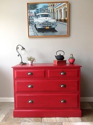 Antique Vintage Red Painted Chest Of Drawers Storage Annie Sloan Emperors Silk