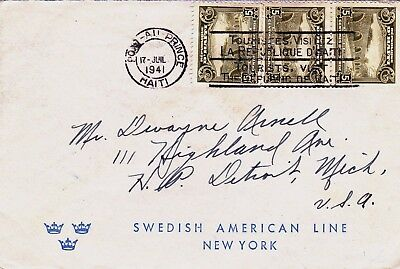 Haiti : Swedish American Shipping Line Cover To New York  (1941)