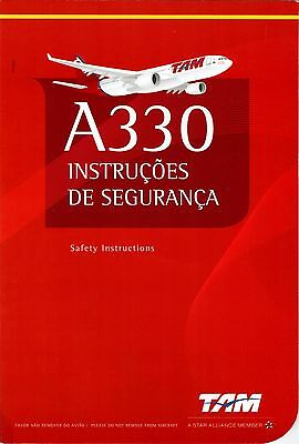 Safety Card TAM Airbus A330 STAR ALLIANCE LOGO Brasilien Brazil Sicherheitskarte