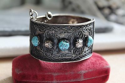 ETRUSCAN Tribal Filigree STERLING Silver Genuine TURQUOISE Hinged CUFF Bracelet