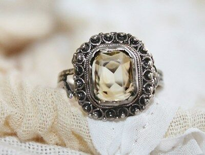 EXQUISITE 4g EDWARDIAN ANTIQUE STERLING SILVER GENUINE 3.3ct CITRINE RING SZ 7.5