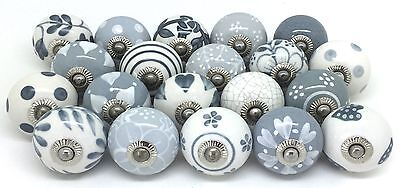 Lot of Mixed Grey & White Ceramic Drawer Knobs Door Cupboard Pulls Kitchen Knob