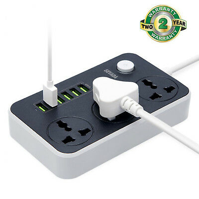 Power Strip Surge Extension Lead 2M 6 Layer USB Port 3 Gang Outlet Socket UK