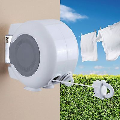 Wall Mountable 26m Double Retractable Automatic Clothes Washing Line Reel