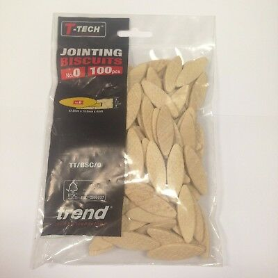 Trend BSC/0/100 No. 0 Jointing Biscuits 100 Pack Dowels made from Die Cut Beech