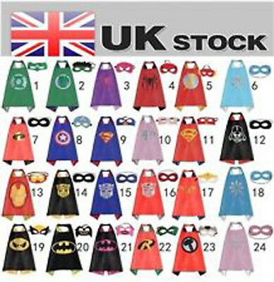 Super Hero Fancy Dress Outfit Kids Cape Mask Set Halloween Birthday Party