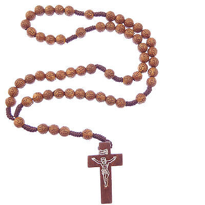 Small carved cross brown round wood 8mm cord rosary beads hand held prayer child