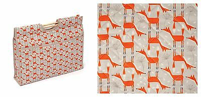 QUILTED CRAFT KNITTING SEWING BAG with wooden handles FOX FOXES! LOVELY GIFT