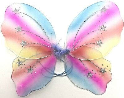 Kids Adults Rainbow Glitter Butterfly Fairy Wings Fancy Dress up Costume 48cm