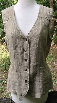 Johnny Was Collection Vest Rayon Flax Linen Blend Lagenlook USA Vtg 90s Sz M