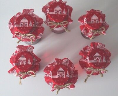 6 Homemade Christmas cottage jam jar covers, labels bands and ties.