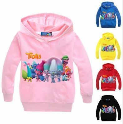 New Kids Boys Girls Casual Hoodies Trolls Cartoon Jumper Pullover SweatShirt Top