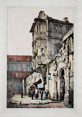 c1830 Bamberg Alte Hofhaltung Kolorierte Lithographie-Ansicht Samuel Prout