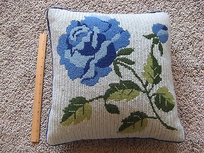 Excellent VINTAGE  Shabby Chic Needlepoint Pillow  ~ Blue ROSE Country