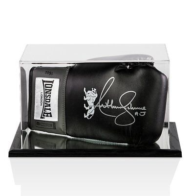Anthony Joshua Signed Boxing Glove Black Lonsdale In Acrylic Display Case