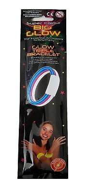 New Super Colour Big Glow in the Dark Triple Bracelet Rave Party Accessories