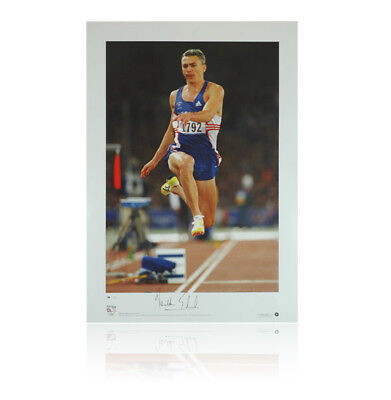 Jonathan Edwards signed print - Olympic Gold Autograph
