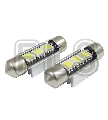 2x 37mm CANBUS WHITE LIGHT 3 LED LICENCE NUMBER PLATE / INTERIOR BULBS  NSN1