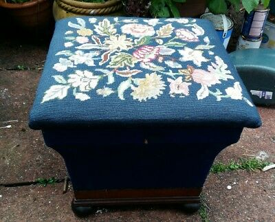 antique victorian stool/ ottoman blue tapestry floral top