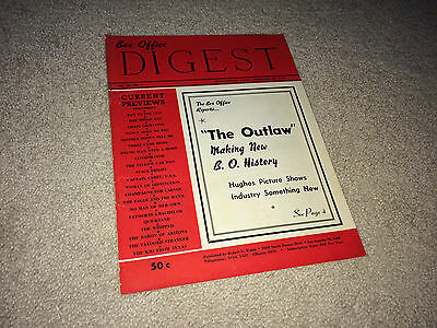 THE OUTLAW Movie Trade Magazine BOX OFFICE DIGEST 1950 Jane Russell Western