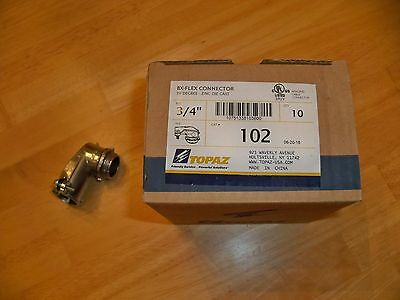 """LOT OF 10 -- **TOPAZ 102** -- 3/4""""  BX-Flex 90Degree Connector -- New In Box"""