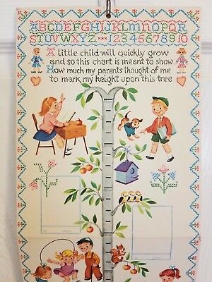 Vtg Gibson Growth Chart Here I Grow Nursery Decor 41 Little Girl