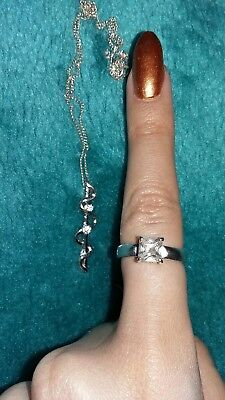 Beautiful Silver 925 Ring and Necklace Set Zirconia