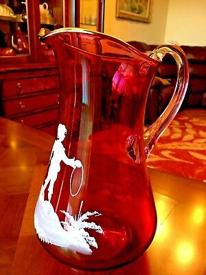 Bohemian Mary Gregory Cranberry Art Glass Pitcher 20th century