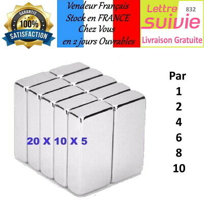 Lot Aimants Puissants De Néodyme 20X10X5mm NdFeB N52 Force 4kg magnetique   W11