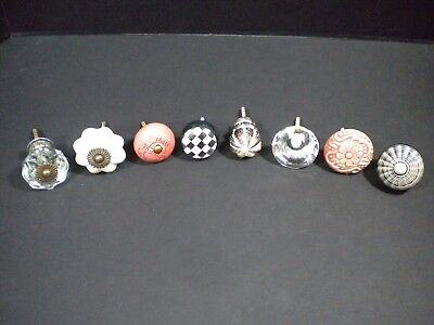 Mixed Lot of 8 Vintage Drawer Pulls - Cabinet Hardware - Glass Ceramic Wood