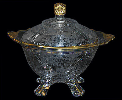 Cambridge Wildflower Gold Decorated #3400/9 Footed Candy Dish