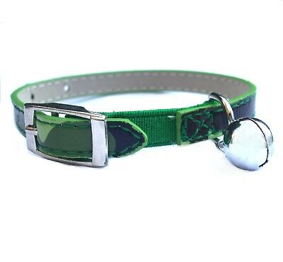 Army Camo Cat Collar Safety Buckle & Warning Bell PU Leather with Safety Elastic