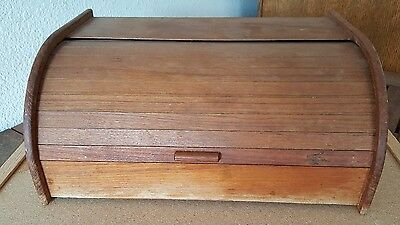 Vintage Winsome Roll Top Bread Box Genuine Teak Made In Thailand