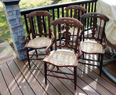 4 Antique Victorian Caned Seat Chairs Very Nice LOOK Local Pickup Only