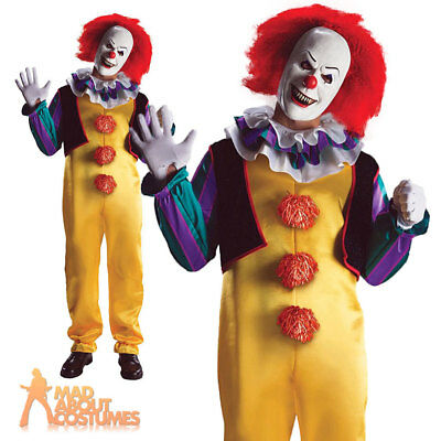 Adult Pennywise Costume IT Halloween Scary Clown Fancy Dress Outfit New