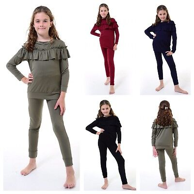 New Kids Girls Ruffle Frill Detail Top & Bottom Loungewear Co Ord Set Tracksuit