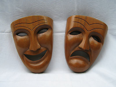 Vintage Theater Masks Comedy Tragedy Happy Sad Carved Wood Wall Decor 1930's
