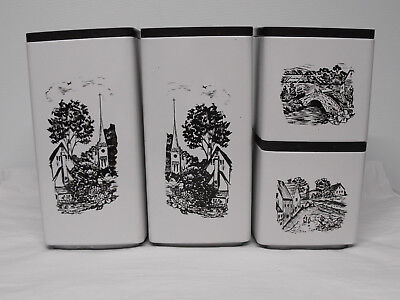 Vintage Metal 4 Piece Canister Set White Brown Country scene 1970's stacking