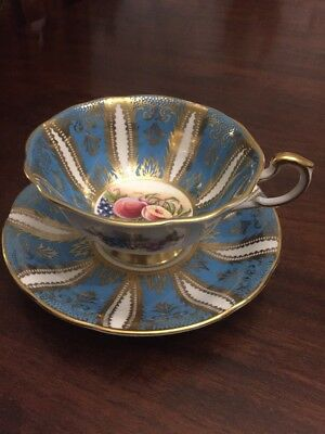 Rare Vintage Paragon Fine Bone China  Cabinet Cup & Saucer Fruits & Berries