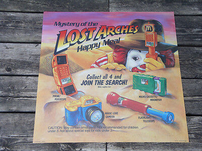 Mystery of the Lost Arches Happy Meal McDonald's Toy Display Sign- Indiana Jones